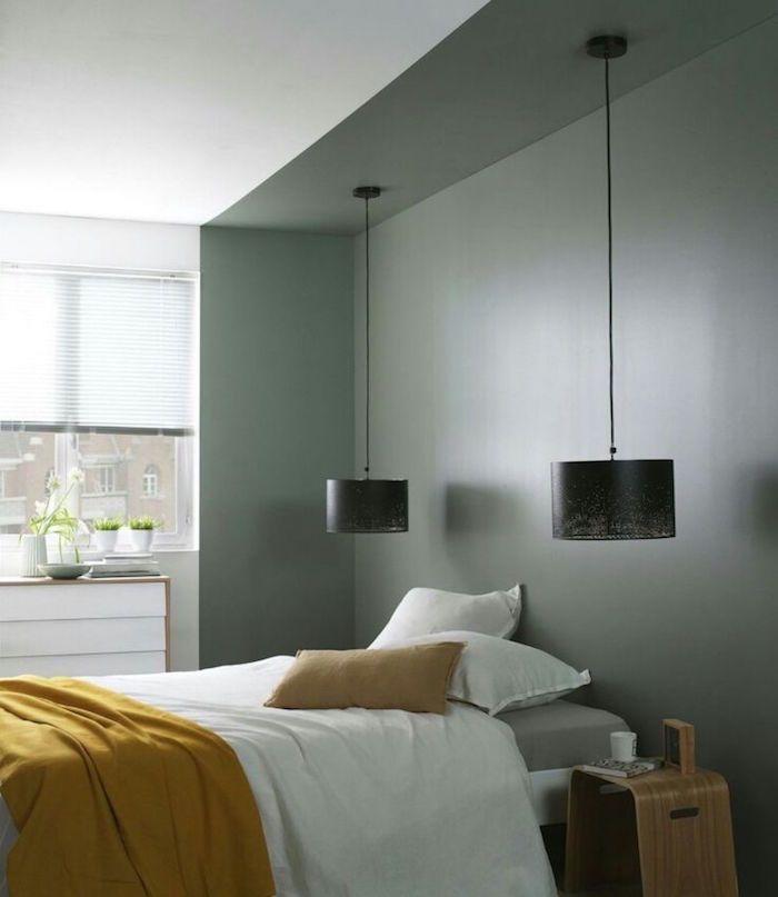 exemple d idée peinture chambre adulte, lampe suspendue pour chambre ...