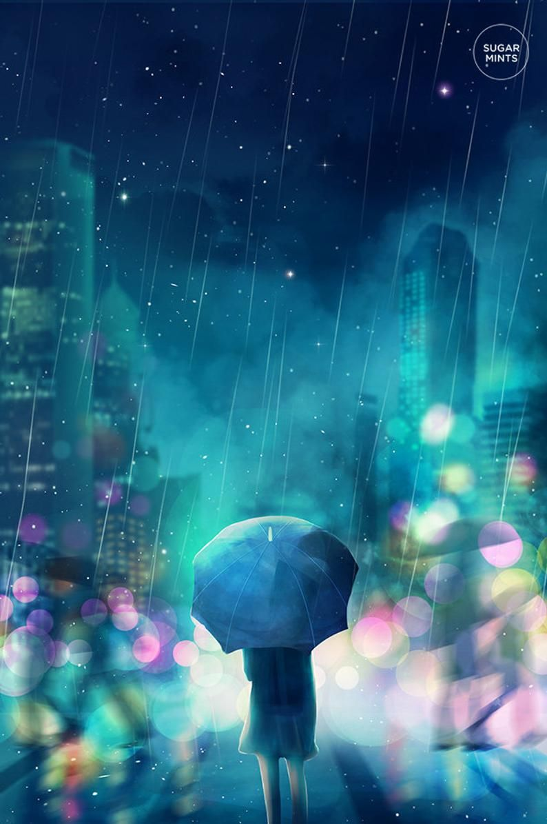 Anime cityscape poster rain etsy in 2020 anime