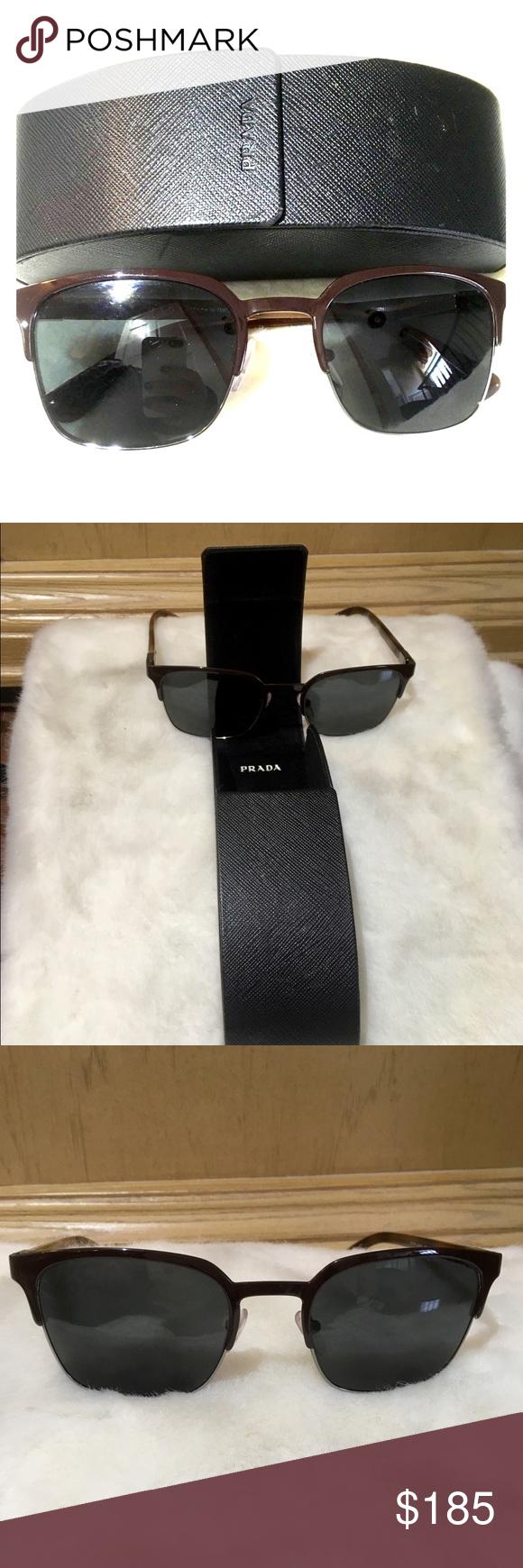 cee63b3ce8 PRADA 🕶Sunglasses🕶 with Protective Hard Case Prada SPR61S Matte Brown Gunmetal  Polarized Sunglasses
