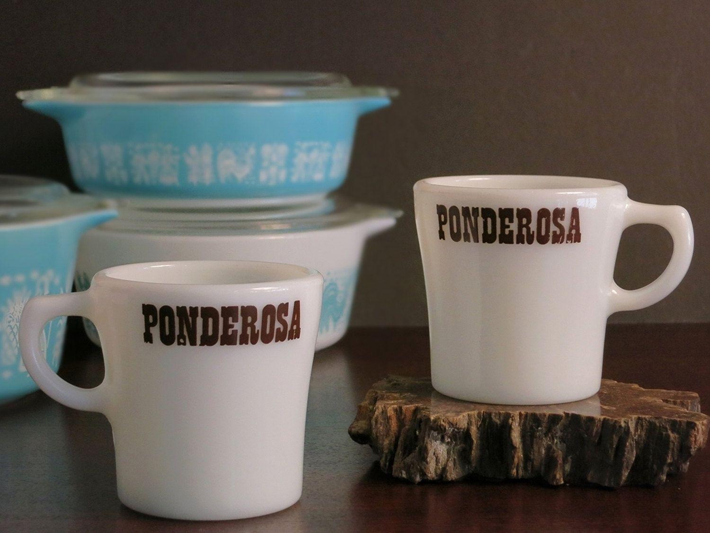 Vintage Pyrex Ponderosa Mugs Restaurant Ware Tableware Restaurantware Advertising