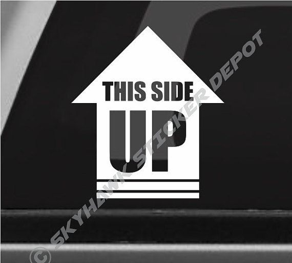 This Side Up Funny Bumper Sticker Vinyl Decal Rock Crawler Decal