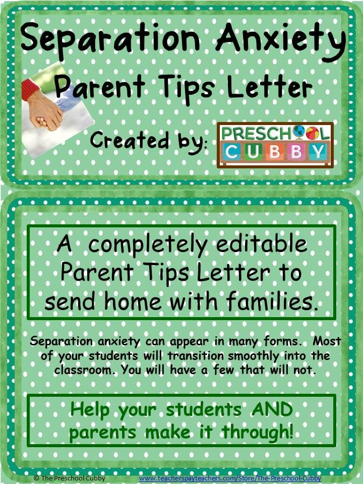 This Completely Editable Separation Anxiety Parents Tip Letter Can
