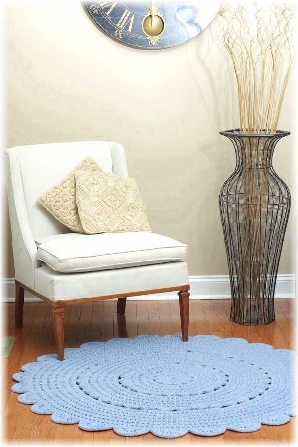 """Handmade Crocheted Doily Rug in Stone wash by Henna's Boutique. Size 54"""" / 137cm"""
