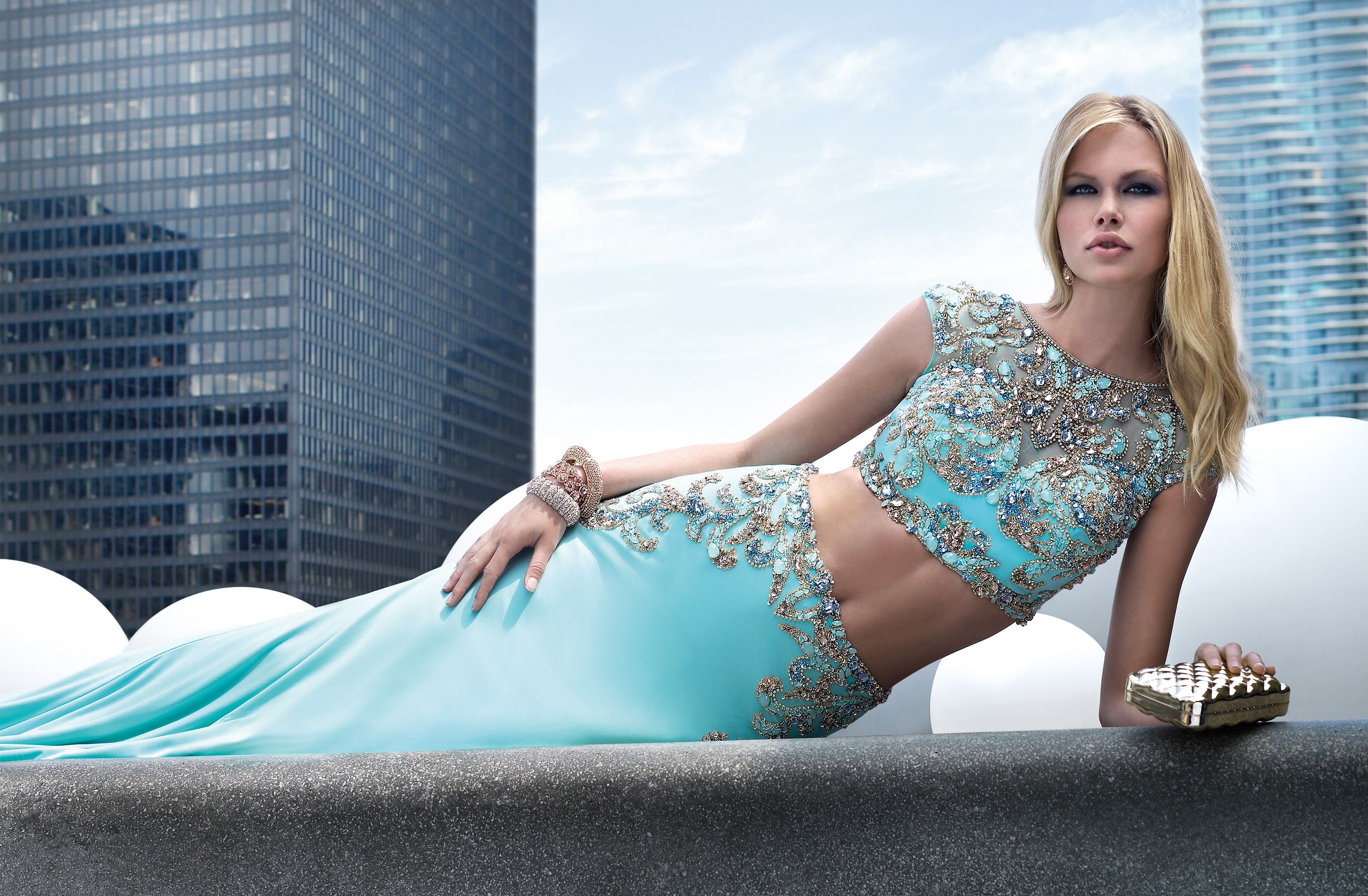 Light blue two-piece prom dress by Alyce Paris. Style #6512 http ...