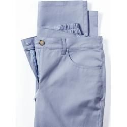 Walbusch Women's Cotton Trousers Feminine Fit Light Blue Solid Color Elastic Flexible Waistband
