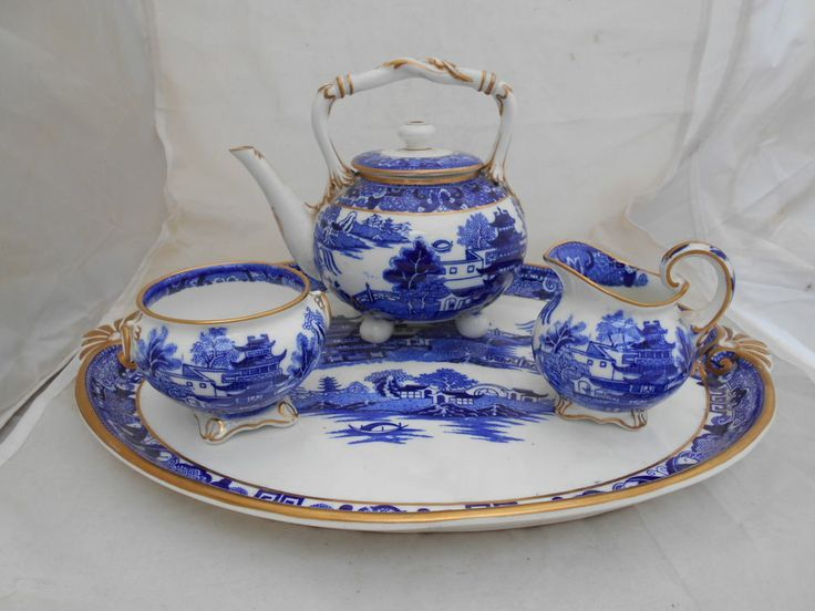 Antique Porcelain Blue and White willow | ANTIQUE GRAINGER WORCESTER PORCELAIN CABARET SET BLUE WHITE WILLOW ...
