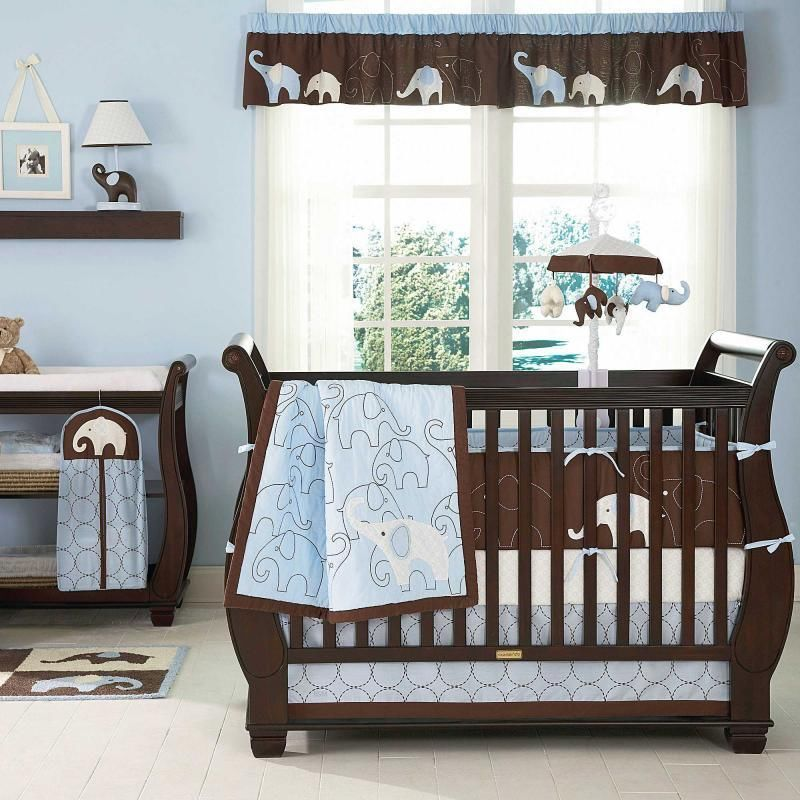 Blue And Brown Elephant Baby Boy 4pc Nursery Collection Crib Bedding Set Carters Would