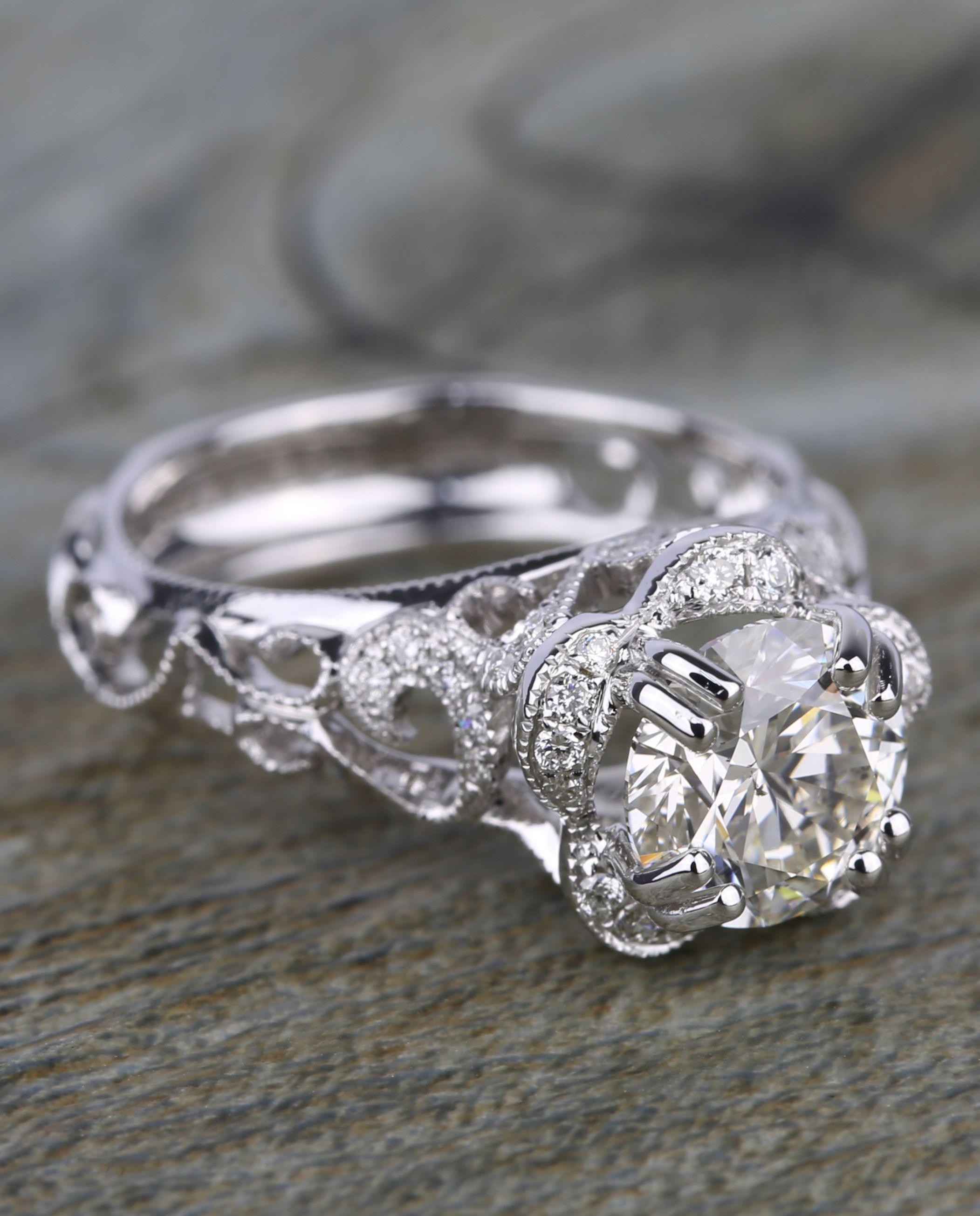 Vintage Floral Crown Parade Diamond Engagement Ring (1.38 ct.)