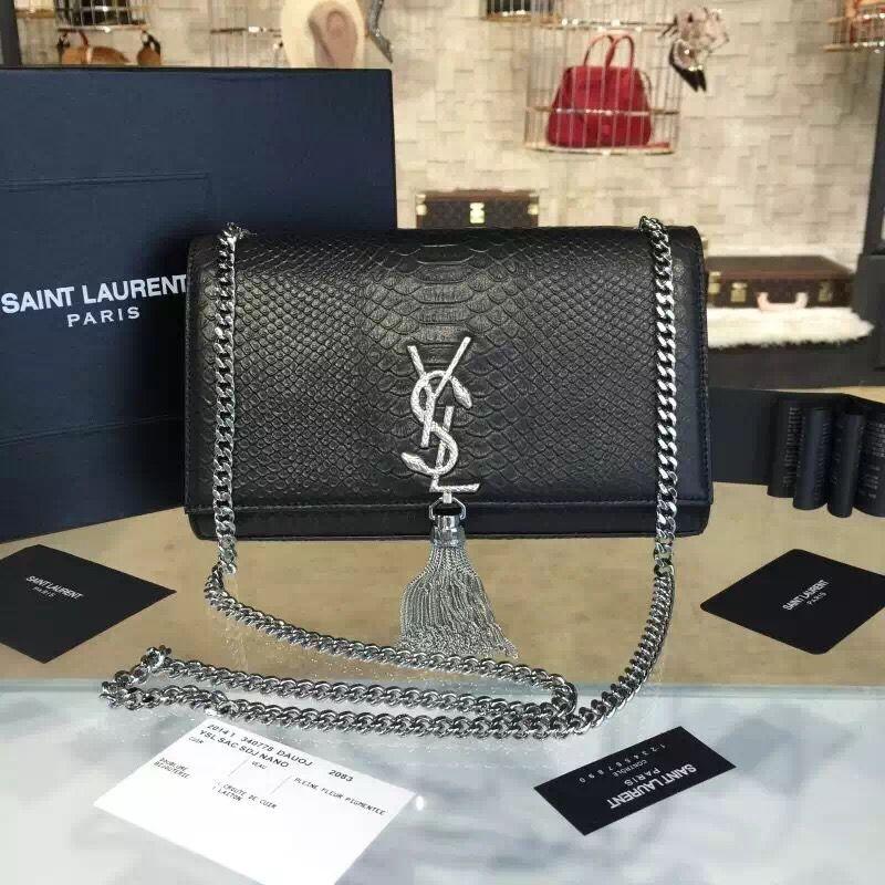 a48eb67f843 Saint Laurent 354119 Classic Medium Monogram Chain Tassel Satchel Bag with  Metal Snake Textured YSL Signature Snake Pattern Leather (SHW)2016