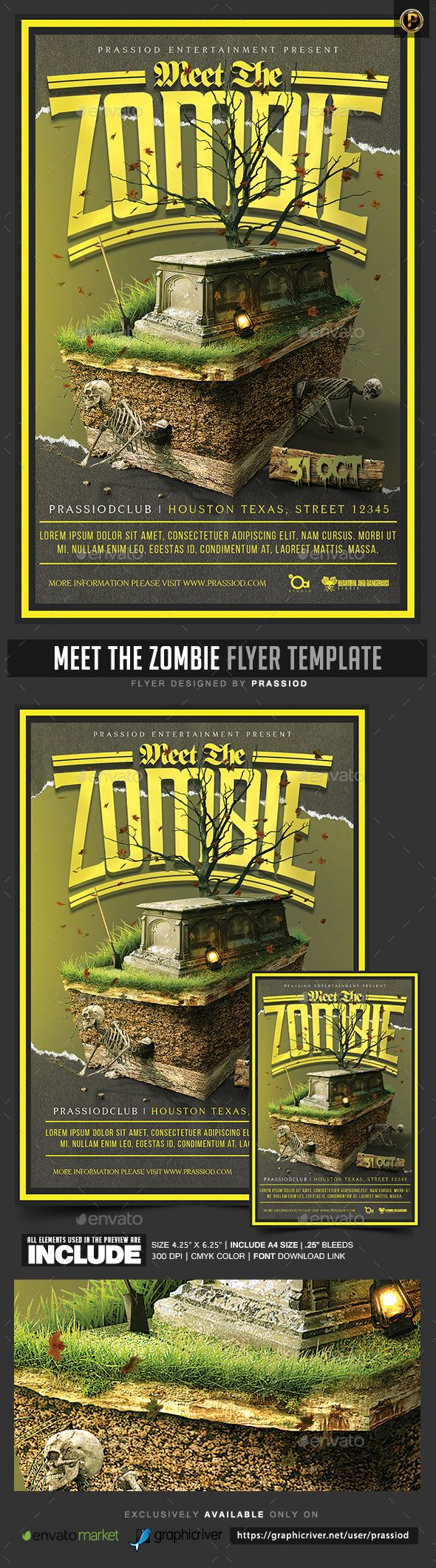 Meet The Zombie Flyer Template | Event flyers, Flyer template and ...
