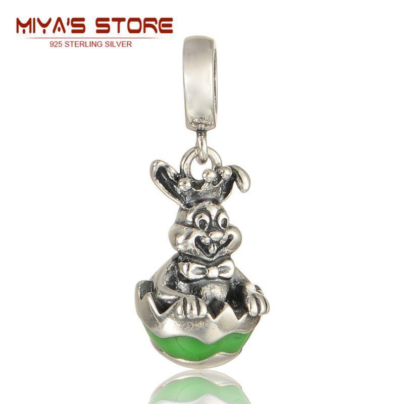 5pcs/lot silver 925 rabbit charm pendants happy easter day luxury bracelet beads & making s305