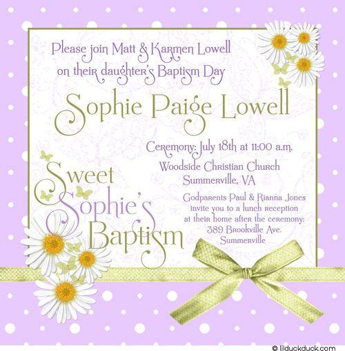 Polka Dot Daisy Baptism Invitation Soft Pink White Photo Sophie - fresh birthday party invitation ideas wording