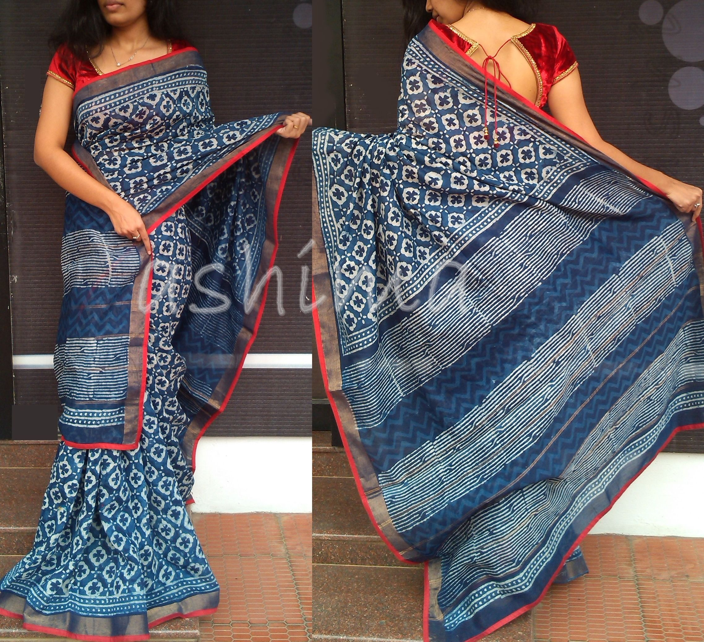 642069d1c0 Code-1811154-Block Printed Chanderi Silk- Price INR:2990/- Saree reserved  by a customer