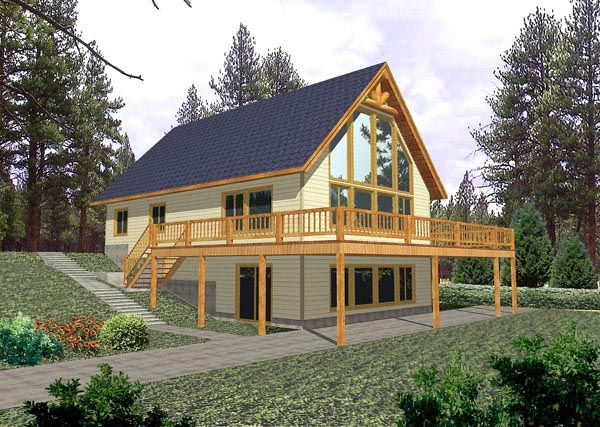 Contemporary Elevation of Plan 87079 Cabins Pinterest