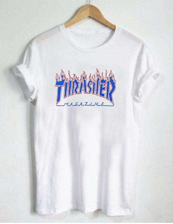 thrasher blue fire T Shirt Size XS d7b0fb7ac