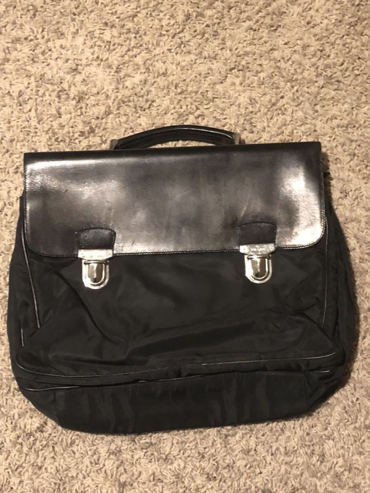 a57eec554930 Used Black Vintage Prada Briefcase- Authentic With Papers@ebay @pinterest # purse #gucci #shoulder #canvas #product
