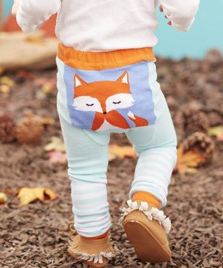 Teal & Orange Woodland Fox Leggings - Infant