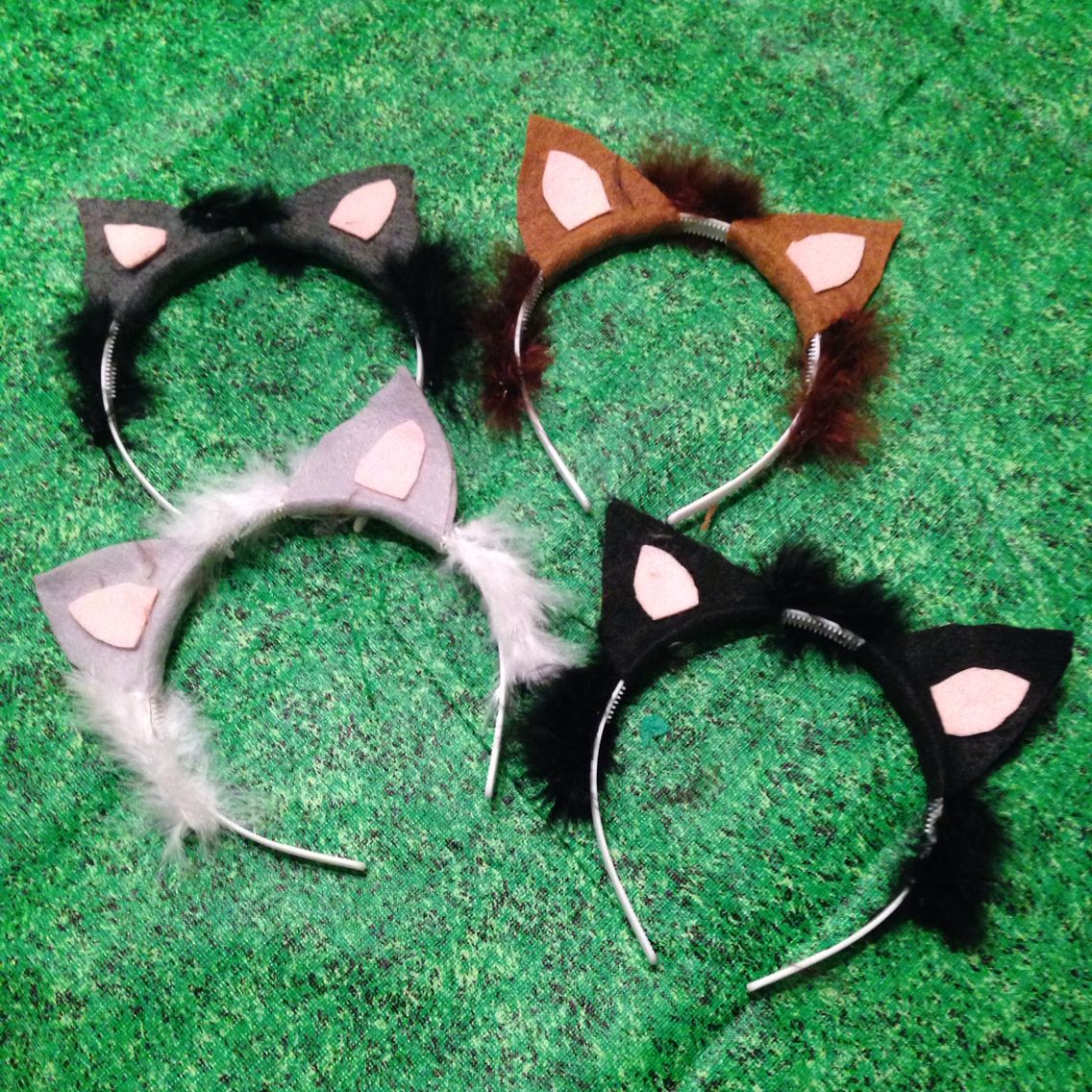Birthday Party Cat Ears: Cat Ears Made With Felt And Furry Yarn
