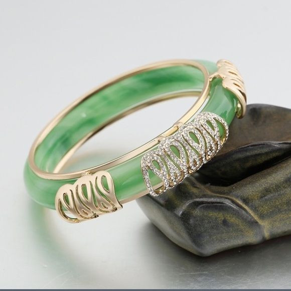 70f97e838 ... bangle natural jade bracelet , comes with extra gold piece you can add  to it if you like, it's 18k gold plated , NEW✅make me offer✅ Jewelry  Bracelets