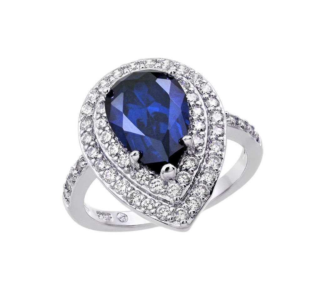 Womens 925 Sterling Silver Rhodium Plated Sapphire Emerald Cut Center CZ Ring