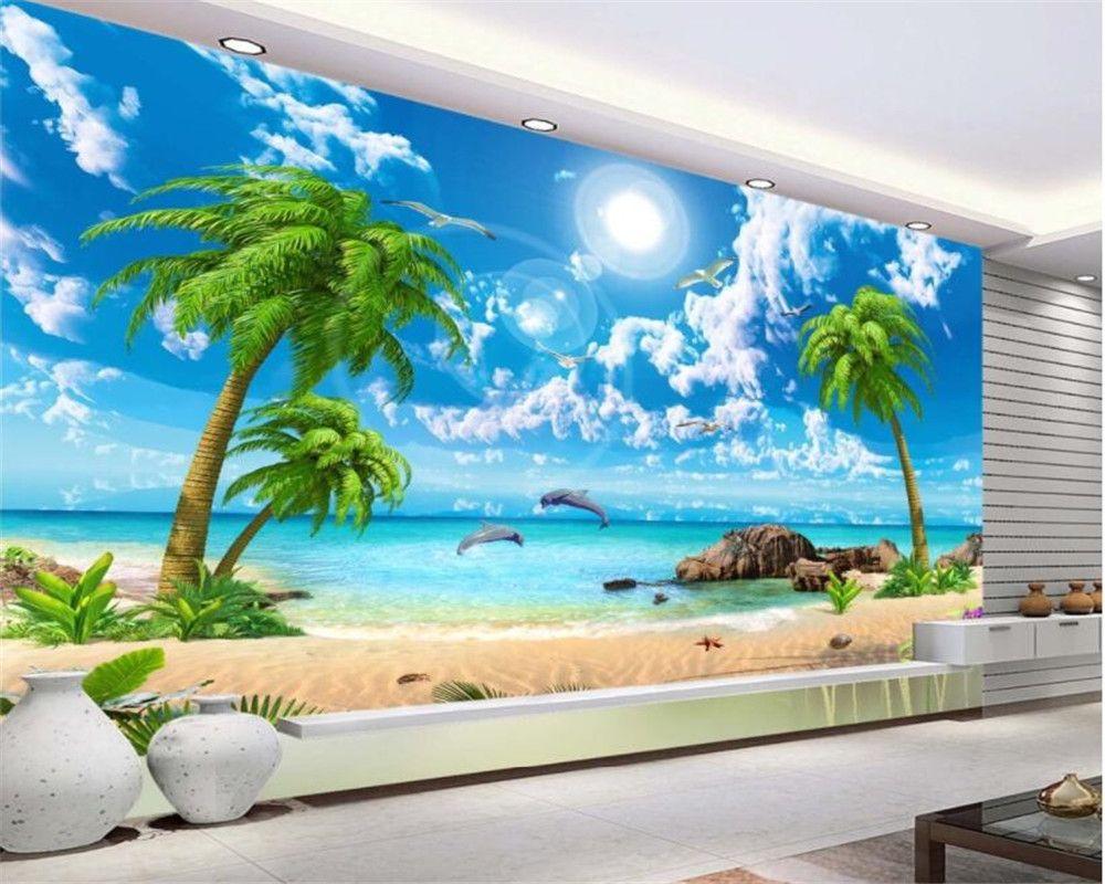 Beibehang 3d Wallpaper Mural Hd Seaview Coconut Beach Landscap