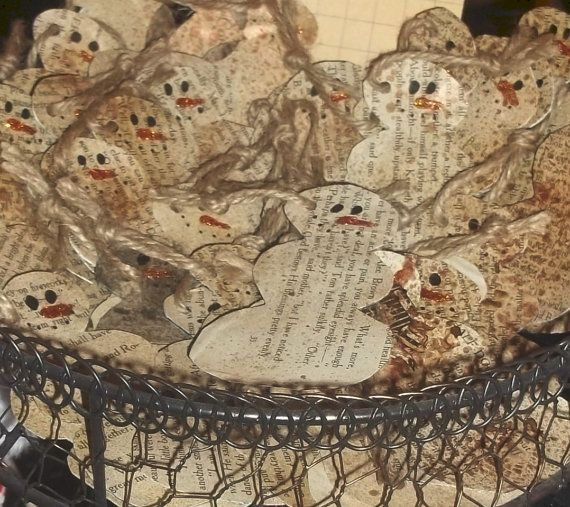Set of 10 handmade 4 inch snowmen christmas tags by kellyjp29, $5.95