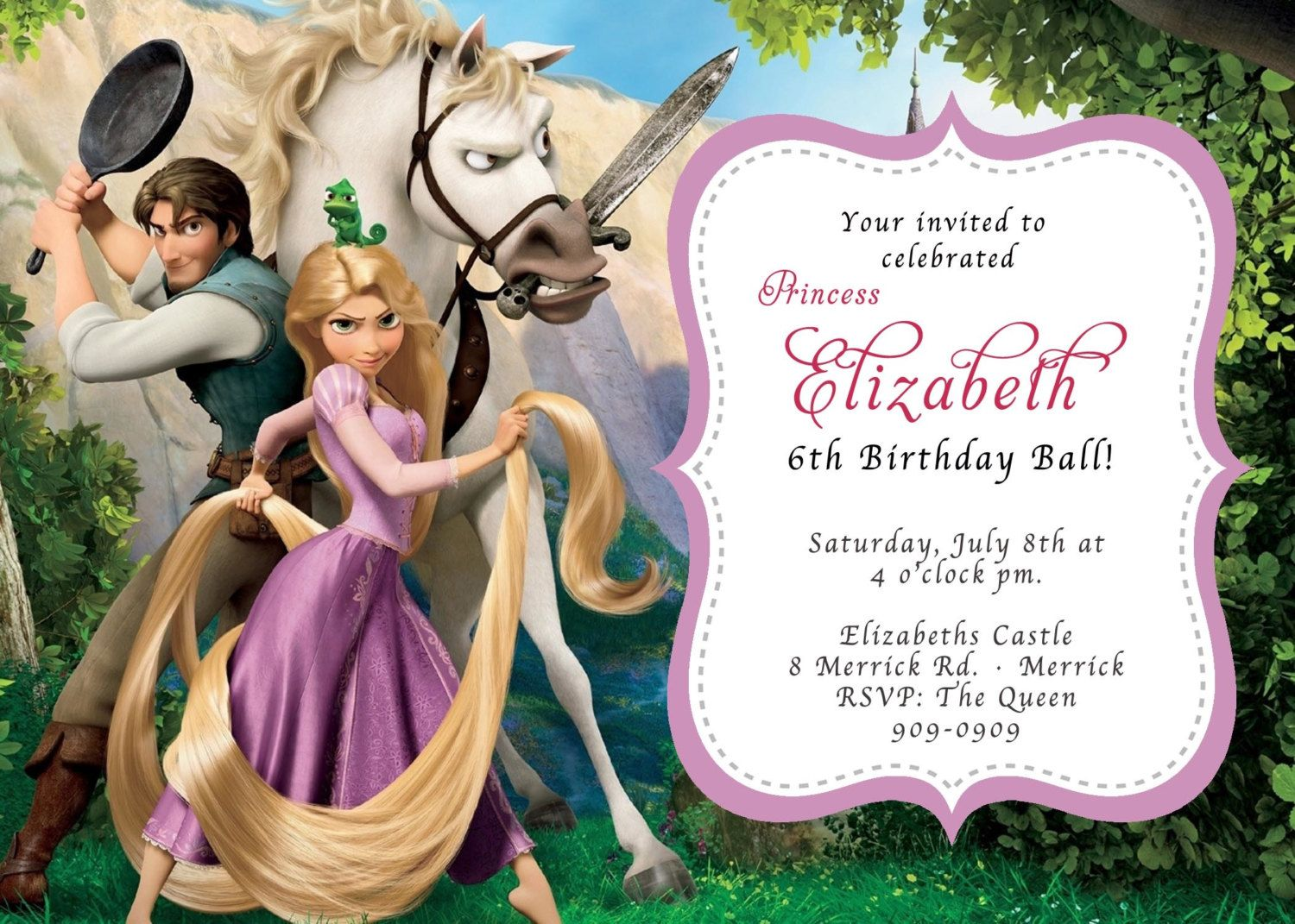 CUSTOM PHOTO Invitations Rapunzel Tangled Birthday Invitation You