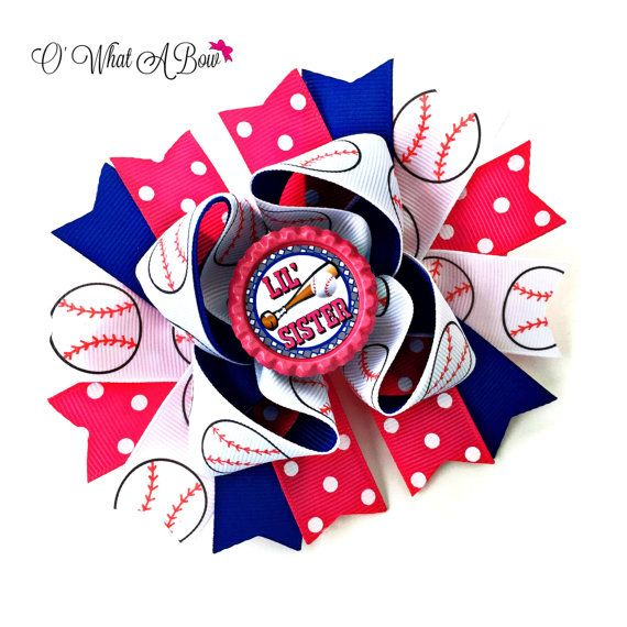 This adorable baseball sister bow is made of 3 layers, a base bow, spikes and a topper bow. The bow measures approximately 5.5 across and features a bottle cap in the center. Ribbon ends are heat sealed to prevent fraying.  I offer a variety of hardware choices for wearing your bow, examples can be found in the pictures above. > French barrette > Alligator Clip with teeth > Ponytail Holder > Clipped to a headband ~ this option includes an alligator clip with teeth clipped to a crochet…