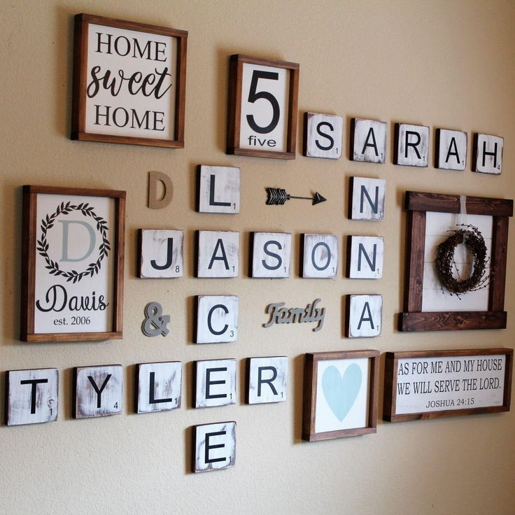 5 Large Scrabble Tiles Wall Art Gallery Decor Farmhouse Style Personalized Sign Wood Letter