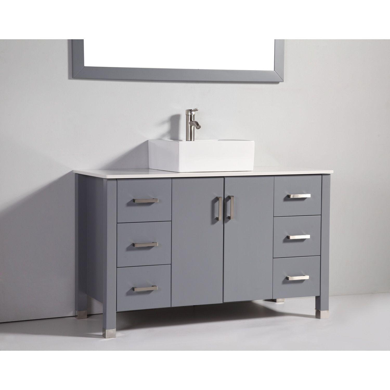 Abel 48 Inch Modern Single Vessel Sink Bathroom Vanity Dark Gray