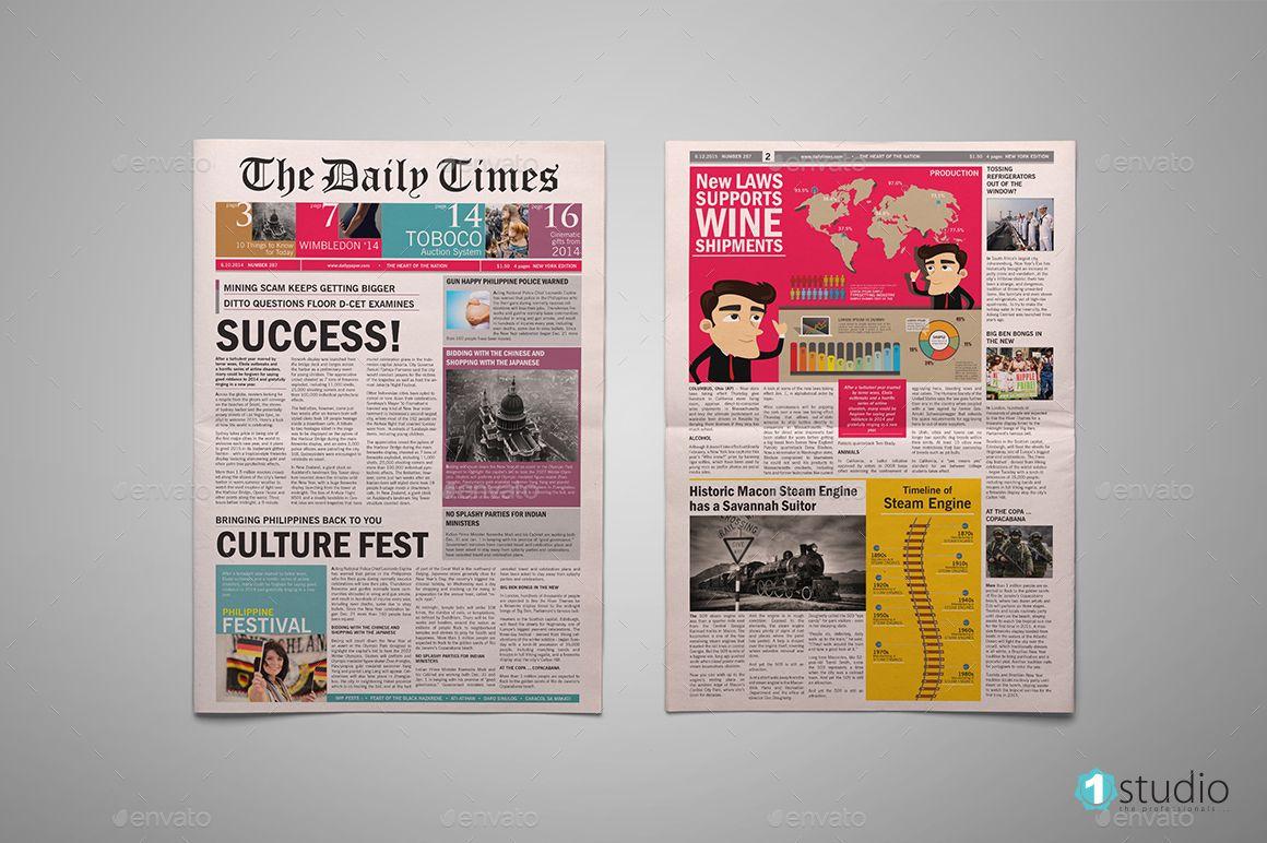 Newspapers Bundle Newspaper Template Newspaper