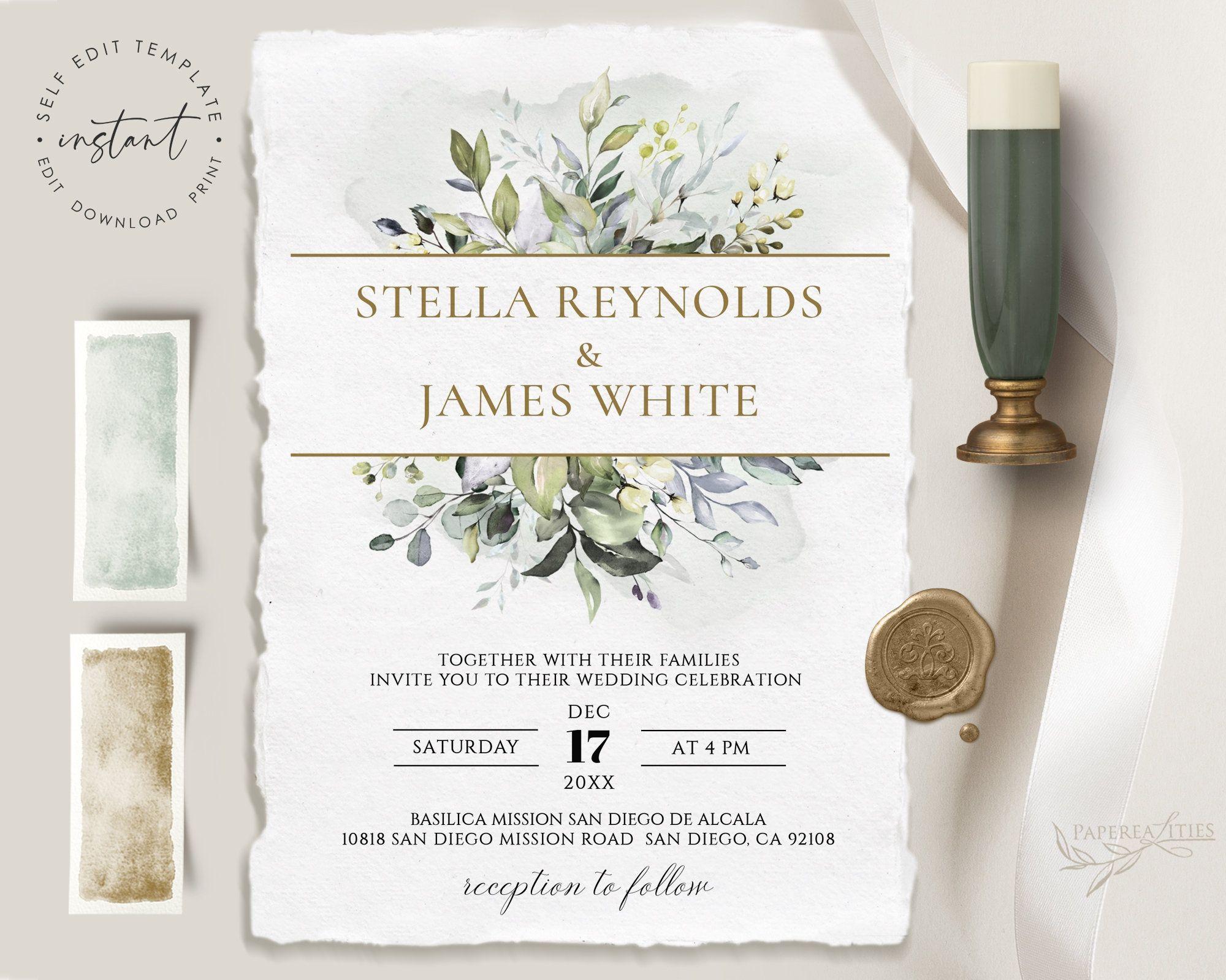 Stella Wedding Invitation Template Download Botanical Etsy In 2021 Botanical Wedding Invitations Wedding Invitation Templates Botanical Wedding Stationery
