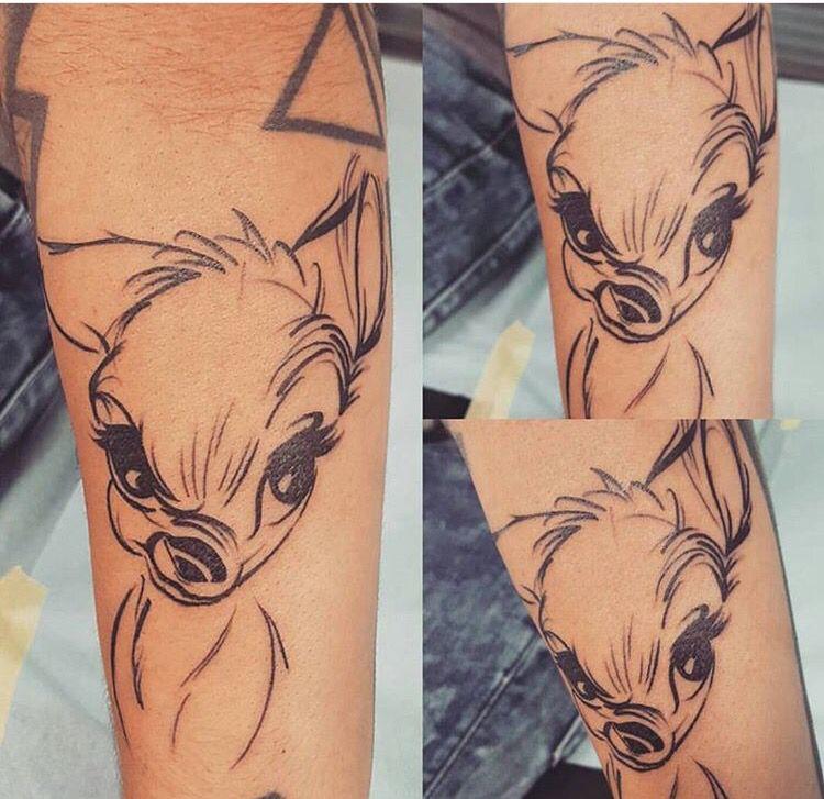 Pin By Megan Feenstra On Disney Tattoo Ideas Cartoon Tattoos Bambi Tattoo Disney Tattoos