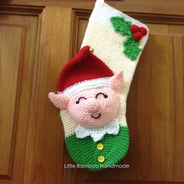 Elf Christmas Stocking crochet pattern by Little Bamboo Handmade ...