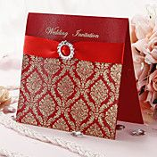 bryllup invitation med guldtryk og røde bånd (sæt af 50)