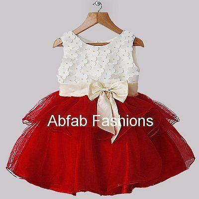 c7219aa2a Bebé Flor Niñas Marfil Rojo Tutú Fiesta Navidad Dama De Honor Vestido 6-48  Meses