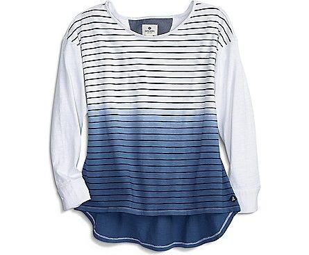 Dip Dye Striped T-Shirt, White/Navy