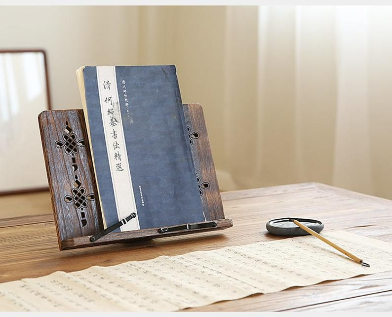 Wooden Book Stand For Reading or Calligraphy (Lightweight