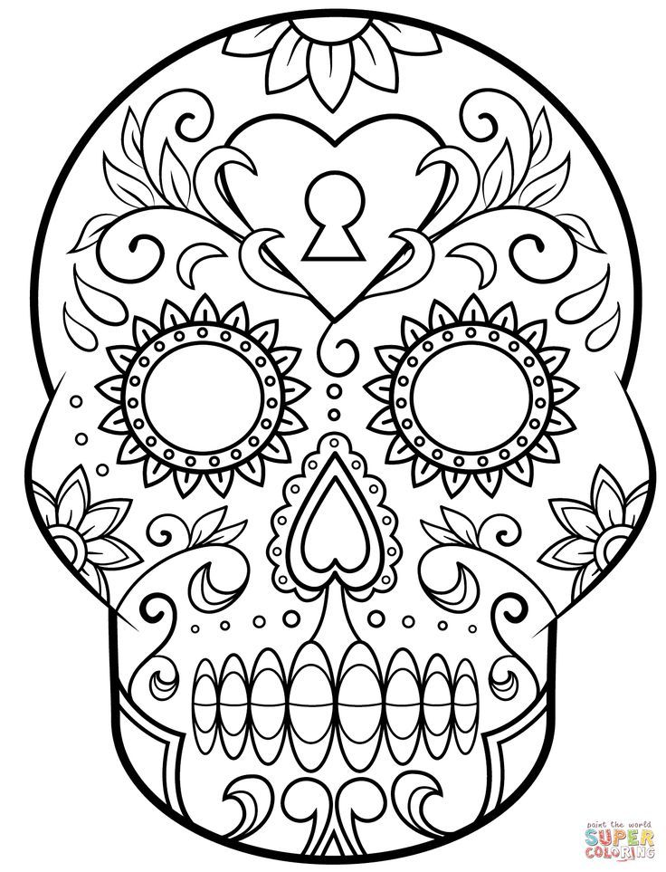 Day Of The Dead Sugar Skull Coloring Page Free Printable Skull Coloring Pages Halloween Coloring Pages Halloween Coloring