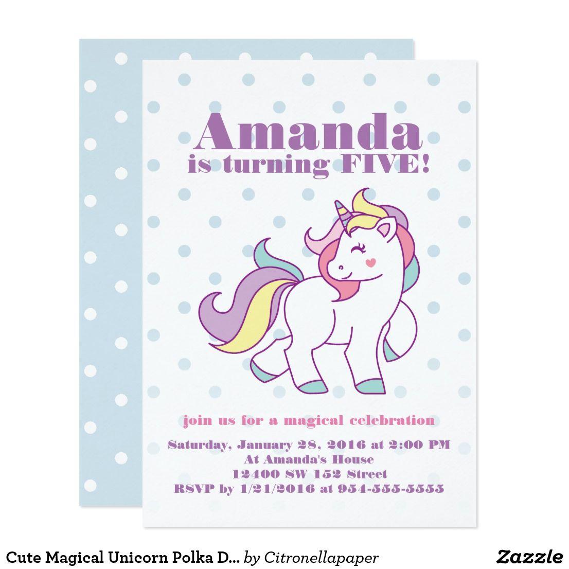 Cute Magical Unicorn Polka DOT custom Birthday Invitation