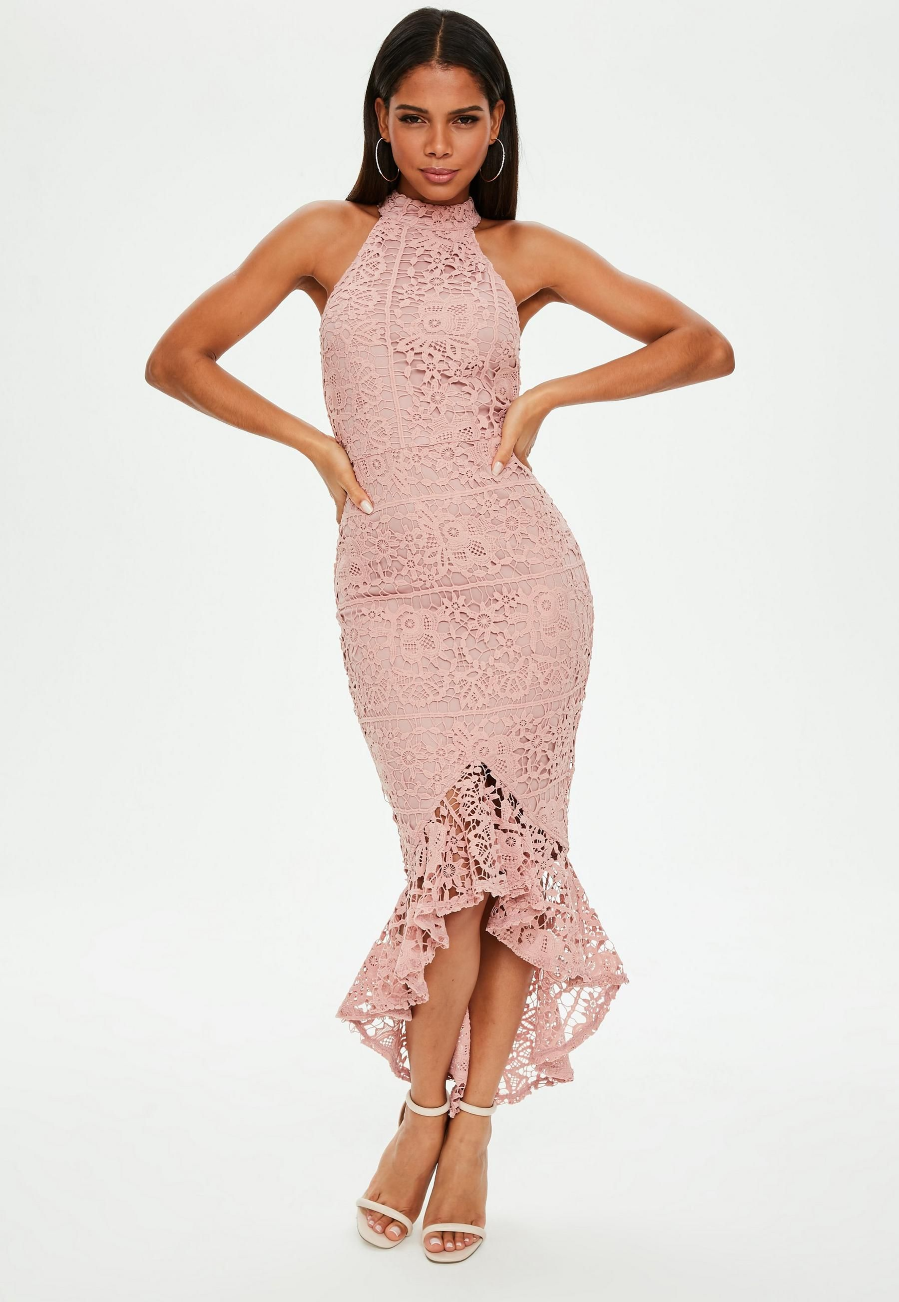 9048abf5d1928b Pink Lace High Neck Fishtail Midi Dress in 2019 | Best women's ...