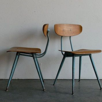 Vintage Industrial Mid Century Modern Plywood School Chair