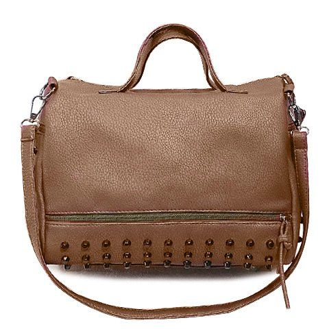 0d311966a9  20.46 Stylish PU Leather and Rivets Design Solid Color Women s Tote Bag  Wholesale Handbags