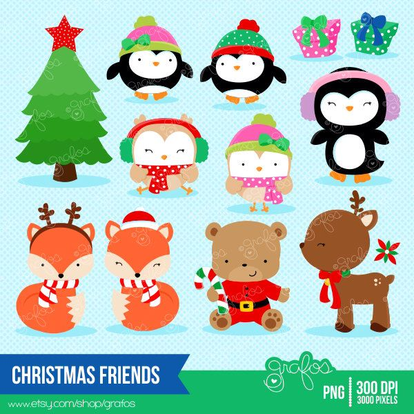 CHRISTMAS FRIENDS Christmas Clipart Holidays Reindeer Owls Instant Download