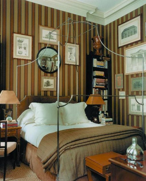 Best Amber And Gold Stripped Wallpaper Bedroom Interior Home 400 x 300