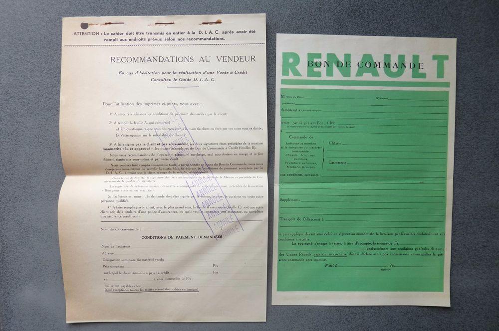 Details Sur Renault Ancien Bon De Commande 1937 Ref 02 Renault