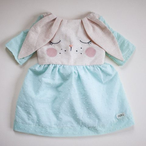 EASTER DELIVERY - Bashful Bunny Dress in Mint Swiss Dot