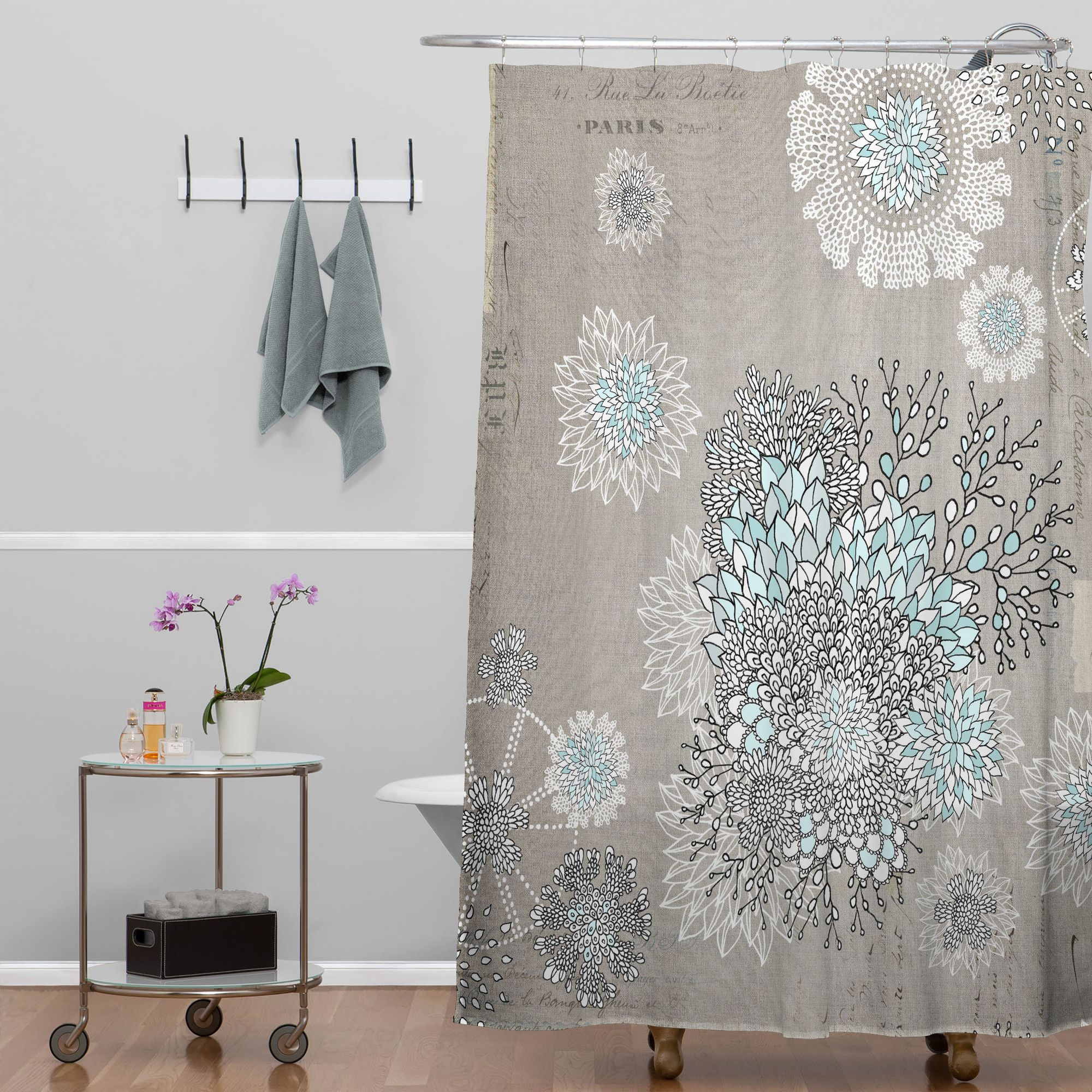 Iveta Abolina Woven Polyester French Blue Extra Long Shower Curtain