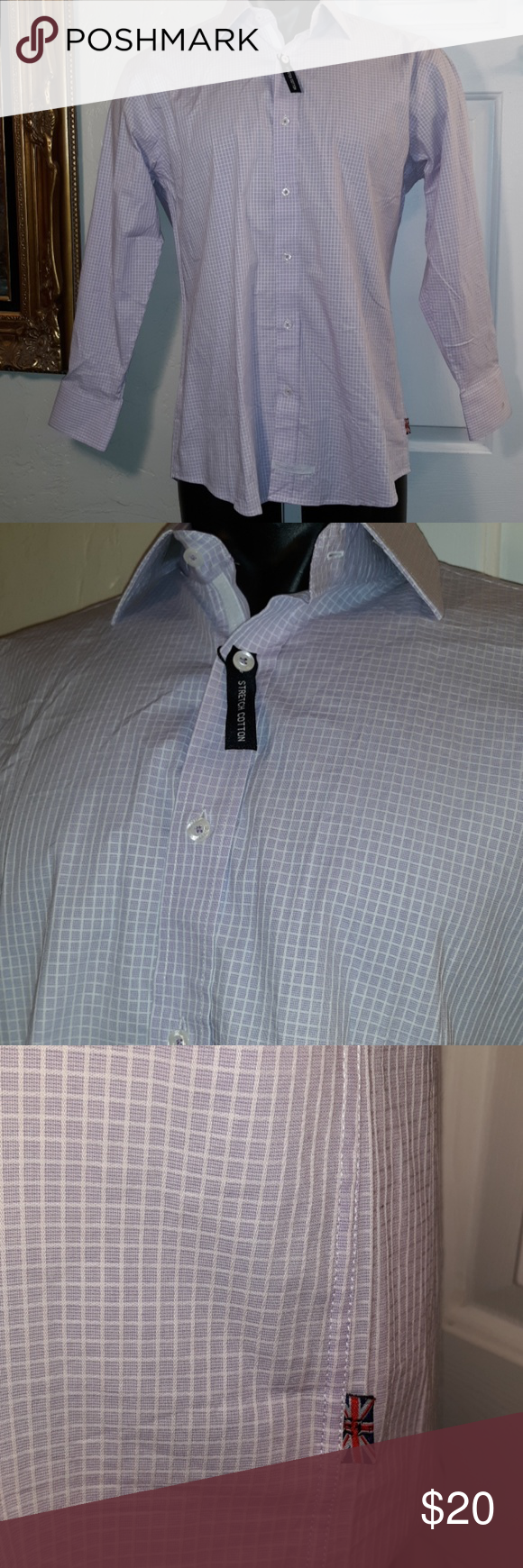 English Laundry Mens Dress Shirt Nwot Mens Shirt Dress Checkered Dress Shirts Laundry Shirts [ 1740 x 580 Pixel ]