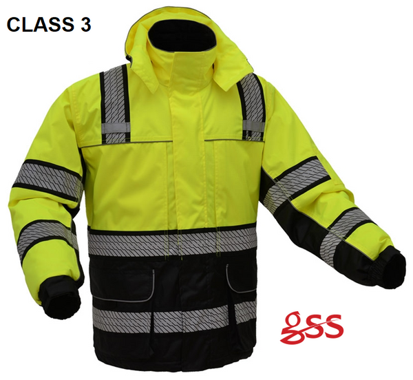 6e2f2a4699a Free Shipping with Orders Over  200. Screen Printing Available.  GSS Safety  8505 8507  Hi Vis Onyx Ripstop 3 in 1 Winter Parka Jacket